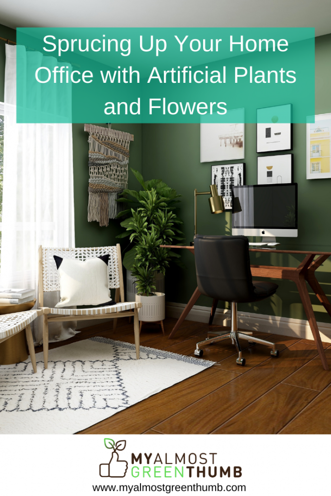 Spruce Up Your Home Office with Artificial Plants and Flowers - Featured Image