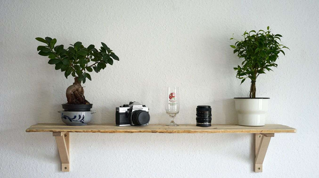 Find small shelves or bookcases to decorate with artificial plants and flowers